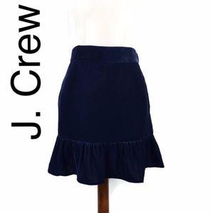 J. Crew velvet ruffle skirt in navy blue